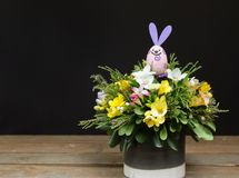 Festive flower arrangement of yellow and white freesia flowers and other plants with rabbit Easter decorated on wooden. And black background, beautiful bouquet Royalty Free Stock Image