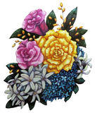 Festive flower bouquet. Watercolor illustration by hand, graphic design element for decoration Stock Photography