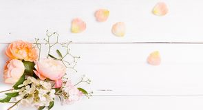 Festive flower composition on the white wooden background. Overhead view. Festive flowers English orange, yellow, pink rose composition on the white background stock images