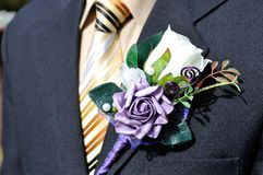 Festive flower decoration for a groom Royalty Free Stock Image