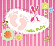 Festive flowers and embroidery. Vector background with festive flowers and embroidery. Welcome infant baby Stock Image