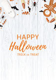 Festive flyer with treats for halloween. Top view on spiders, paper bats and confetti on wooden texture. Vector illustration with cookies in form of skeleton Royalty Free Stock Photography