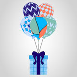 Festive flying balloons and gifts. Christmas pattern, vector illustration. Royalty Free Stock Photos