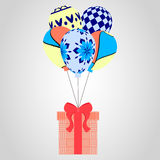 Festive flying balloons and gifts. Christmas pattern, vector illustration. Royalty Free Stock Photo