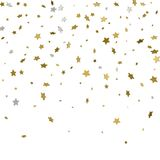 Festive flying gold stars shower. 3d. Vector illustration. Festive flying gold stars shower. 3d. Vector Royalty Free Stock Photos