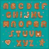 Festive font. Funny cookies. Gingerbread alphabet. Vector Illustration Stock Photography