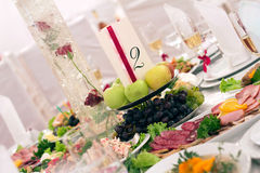 Festive food. Beautifully covered banquet table with food Stock Image