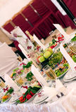 Festive food. Beautifully  banquet table with food Royalty Free Stock Images
