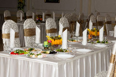 Festive food. Beautifully  banquet table with food Stock Images