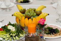 Festive food. Beautifully  banquet table with food Stock Photography