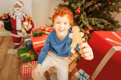 Emotional preteen boy showing gingerbread man into camera. Festive food. Selective focus on a tasty homemade gingerbread cookie held by a cute redhead kid in Stock Photo