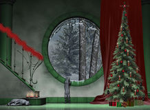 A festive foyer. A green marble foyer decorated for Christmas Royalty Free Stock Image
