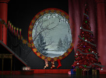 A festive foyer. A red marble foyer decorated for Christmas Royalty Free Stock Images