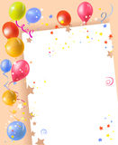Festive frame with balloons and confetti. Vector illustration Royalty Free Stock Photos
