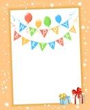 Festive frame birthday. Vector illustration Stock Photos