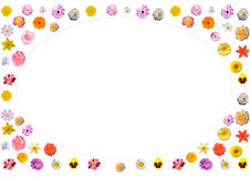 Festive frame of colorful flowers. Collage - frame with flowers for holiday cards vector illustration