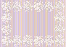 Festive frame of the decorative flowers. Vector frame decorated with flowers on a striped background with space for your text Stock Image