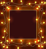 Festive frame with garlands Royalty Free Stock Photography