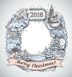 Festive frame in graphical style. Festive graphic frame, is drawing by hand, with elements and objects of the Christmas holiday Royalty Free Stock Images