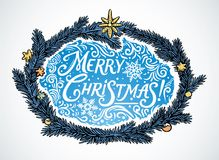 Festive frame and inscription. Festive illustration frame of fir branches and the inscription with snowflakes as a decorative element for decoration of themed Royalty Free Stock Photography