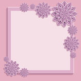 Festive frame with purple 3d paper flowers. Floral square pink frame. Beautiful trendy nature background with ornate purple, violet summer 3d flower dahlia royalty free illustration