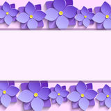 Festive frame with summer 3d flowers violets. Festive rectangular frame with purple summer 3d flowers violets. Floral creative trendy background. Beautiful Royalty Free Stock Photo
