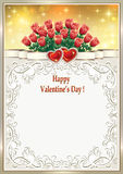 Festive frame on Valentine`s Day. With hearts and flowers glowing background Royalty Free Stock Images