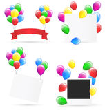 Festive frames with inflatable bright air balls  on whit Stock Photography