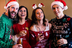 Festive friends in a bar Stock Photo