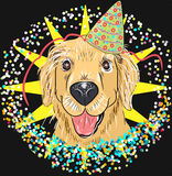 Festive fun Labrador dog in the nightcap. Vector festive fun Labrador dog in the nightcap. background star and confetti Stock Photos