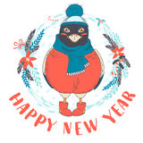 Festive Funny Happy New Year card with bullfinch bird wearing ca Royalty Free Stock Images