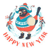 Festive Funny Happy New Year card with bullfinch bird wearing ca. Vector illustration  Festive Funny Happy New Year card with bullfinch bird wearing cap, boots Stock Photography
