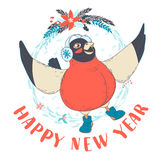 Festive Funny Happy New Year card with bullfinch bird wearing ea. Vector illustration  Festive Funny Happy New Year card with bullfinch bird wearing earmuffs and Stock Photos