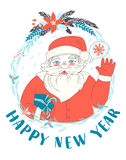Festive Funny Happy New Year card with Santa Claus holding prese. Vector illustration Festive Funny Happy New Year card with Santa Claus holding present and Royalty Free Stock Photography