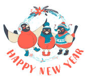 Festive Funny Happy New Year card with three birds bullfinches w. Vector illustration Festive Funny Happy New Year card with three birds bullfinches wearing caps Stock Photography