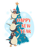 Festive Funny Happy New Year card with three penguins pyramid in. Vector illustration Festive Funny Happy New Year  card with three penguins pyramid in front of Royalty Free Stock Images