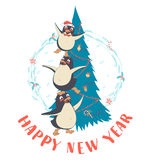 Festive Funny Happy New Year card with three penguins pyramid in. Vector illustration Festive Funny Happy New Year  card with three penguins pyramid in front of Stock Photos