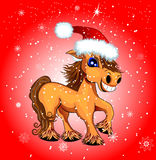 Festive funny horse. A horse with snowflakes on a red background Royalty Free Stock Image