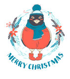 Festive Funny Merry Christmas card with bullfinch bird wearing Royalty Free Stock Photography