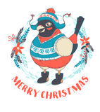 Festive Funny Merry Christmas card with bullfinch bird wearing. Vector illustration Festive Funny Merry Christmas card with bullfinch bird wearing cap, boots and Stock Image