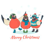 Festive Funny Merry Christmas card with three birds bullfinches. Vector illustration Festive Funny Merry Christmas card with three birds bullfinches wearing hats royalty free illustration