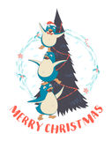 Festive Funny Merry Christmas card with three penguins pyramid i. Vector illustration Festive Funny Merry Christmas card with three penguins pyramid in front of Stock Image