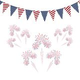 Festive garland of American flags with salute on white backgroun. D Royalty Free Stock Photo