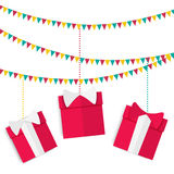Festive garland with presents in red boxes with bows on birthday, Christmas and New Year in a flat style Royalty Free Stock Photos