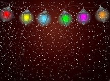 Festive garland with varicoloured lanterns Royalty Free Stock Photos