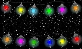 Festive garland with varicoloured lanterns Royalty Free Stock Image