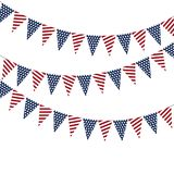 Festive garlands of American flags on a white background. Festive garlands of American flags on a white background Stock Images