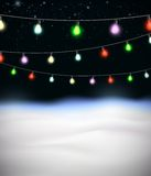 Festive garlands of colored lights Royalty Free Stock Photo