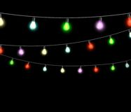 Festive garlands of colored lights Royalty Free Stock Images