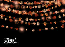Festive Garlands decoration Lights Realistic Design Elements. Lamps in the form of Red Heart. Glowing for Saint Valentines Day greeting card. Vector Stock Image